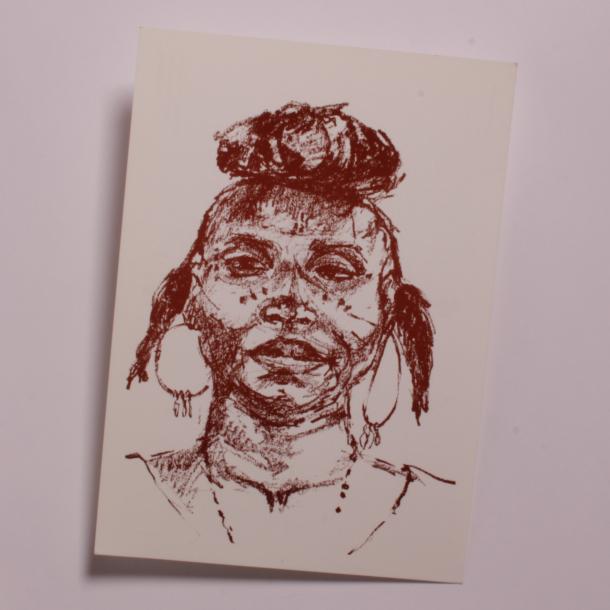 Enkelt postkort med motiv af kvinde fra Niger